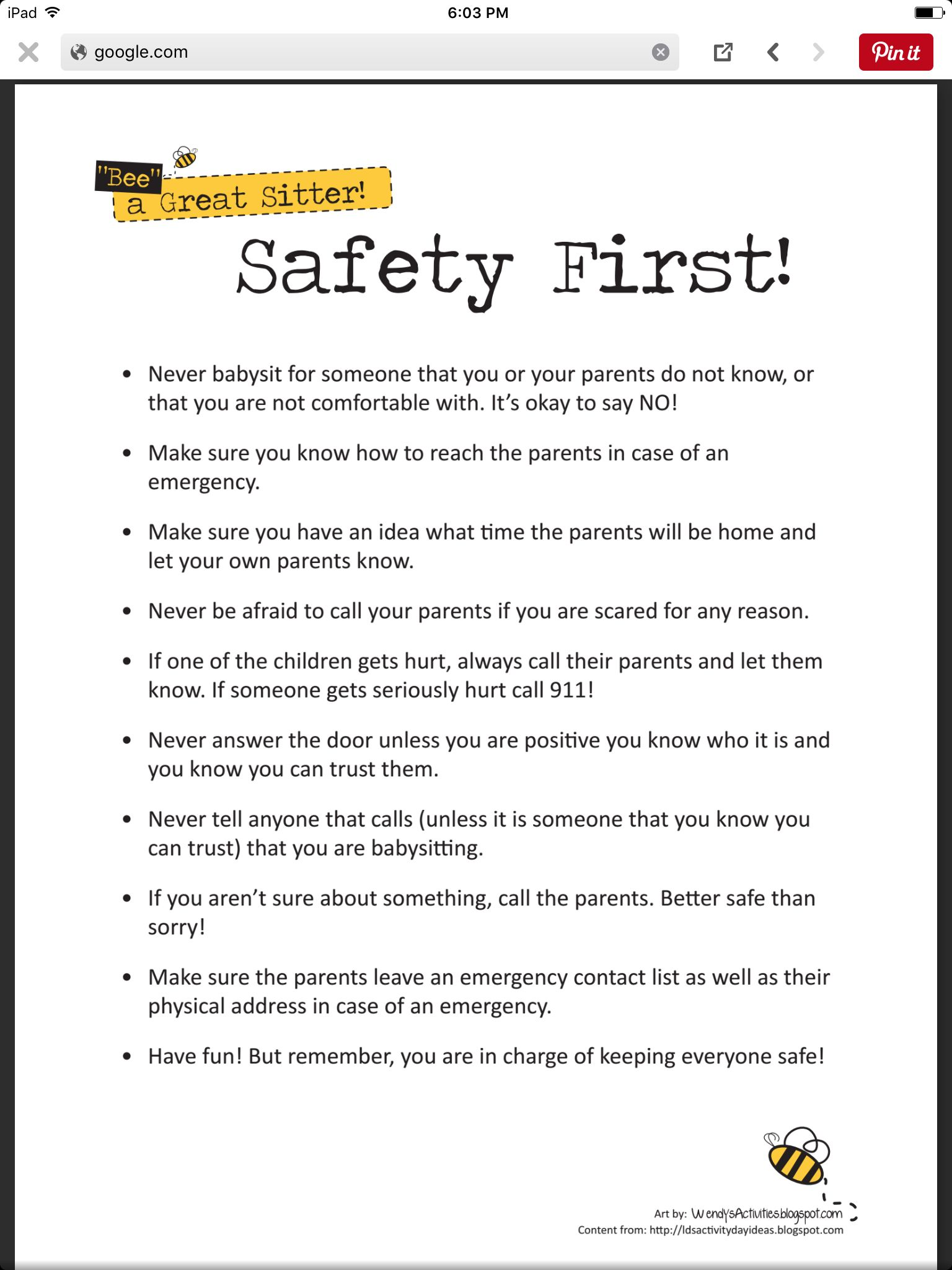 Worksheets Babysitting Worksheets babysitting safety first pinterest first