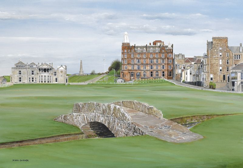 On a golf trip to Scotland we played the most famous course in the world - the home of golf - St. Andrews.  The Swilcan bridge with the offices of the Royal and Ancient in the back ground on the left is the iconic view of this special place.  It's pretty cool to walk across this bridge on the 18th hole where every hero of golf history has stood at one time or another.  A must painting!