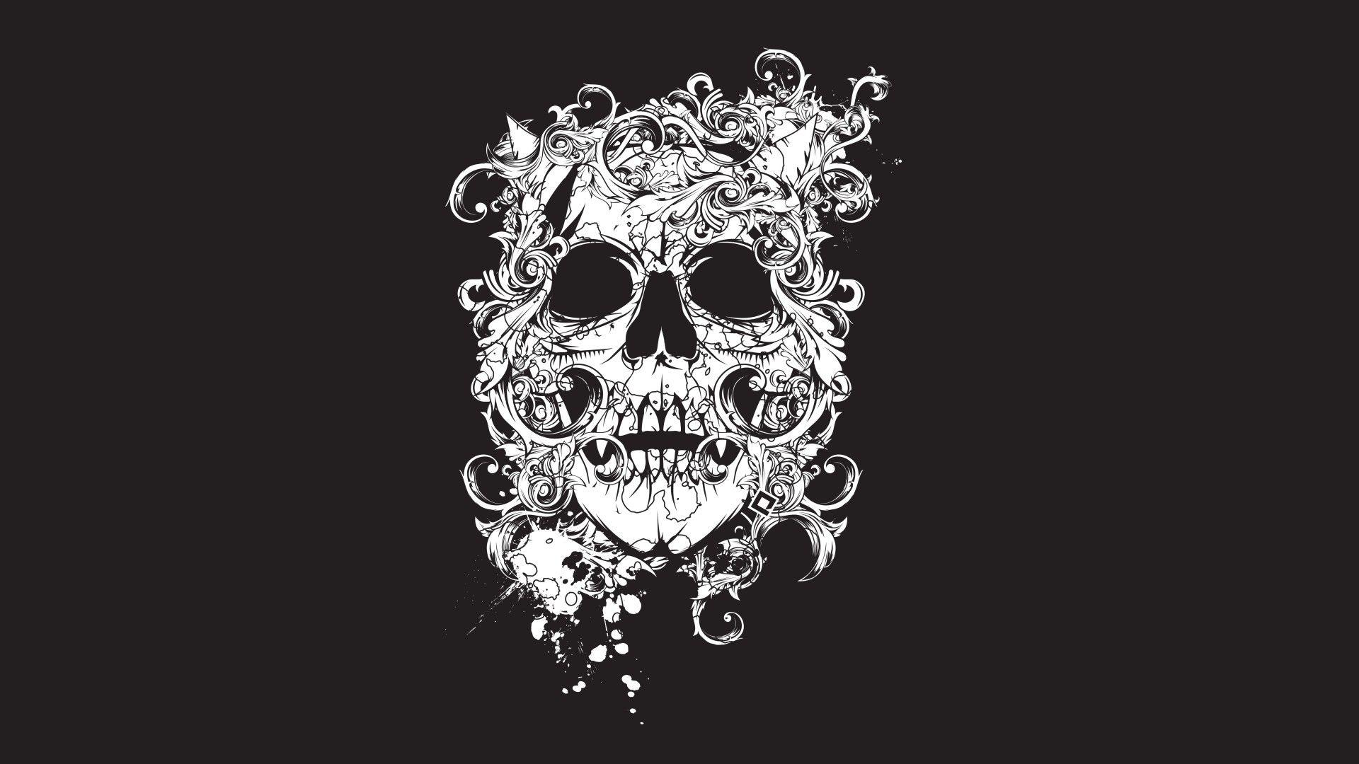 scull, black, tatto, decor 3840x2160 wallpaper