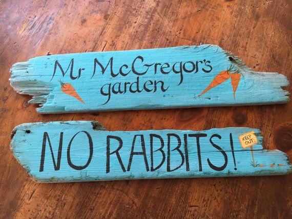 handpainted mr mcgregor s garden sign on shabby reclaimed wood on