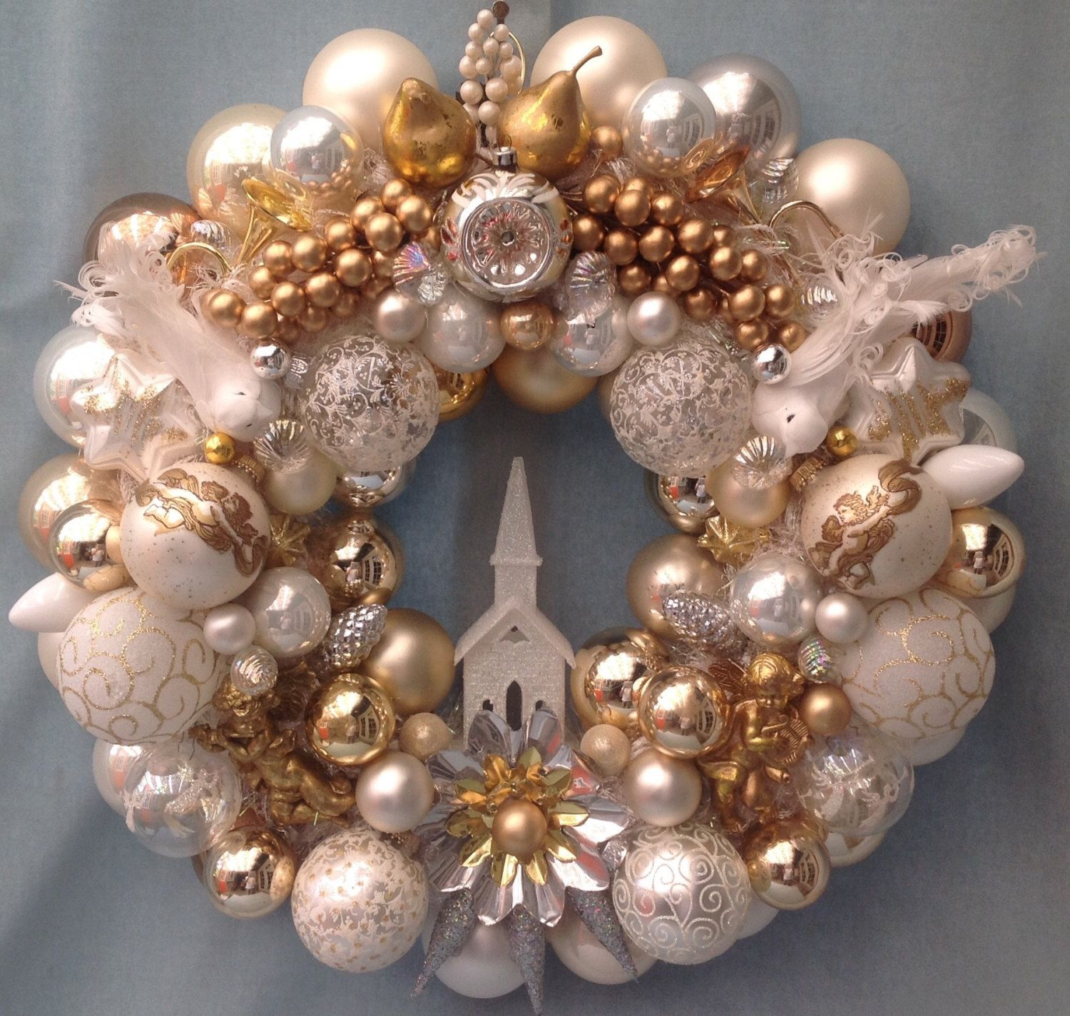 "Vintage Christmas Ornament Wreath. Approx. 21"" Diameter"