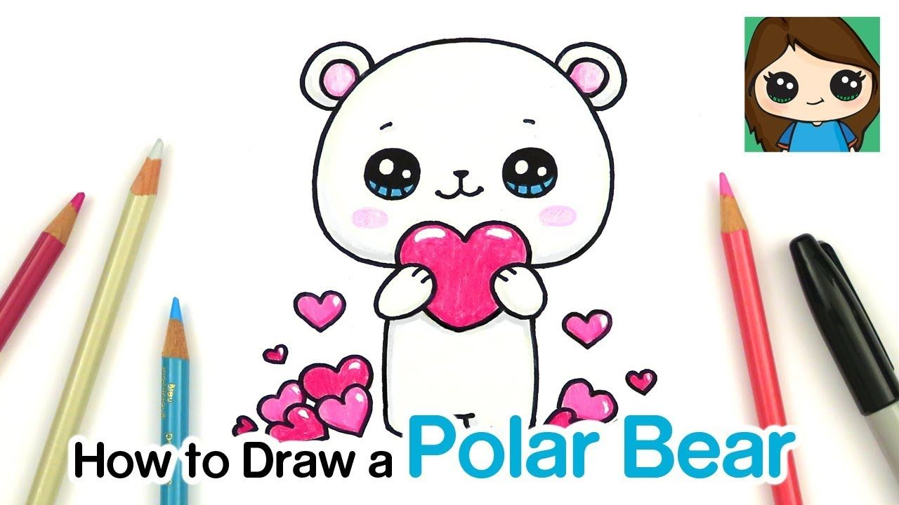 How To Draw A Polar Bear Holding A Heart Youtube Polar Bear Drawing Cute Little Drawings Cute Easy Drawings
