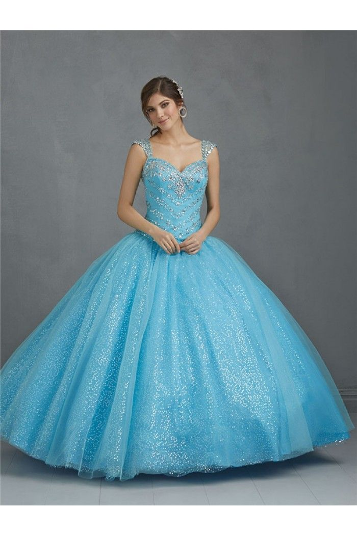 Ball Gown Sweetheart Light Blue Tulle Sequin Glitter Corset Quinceanera Prom Dress Detachable Straps