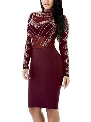Maelove Womens Sexy High Neck Long Sleeve Bandage Bodycon See Through Clubwear Party Dress (Medium, Wine Red)