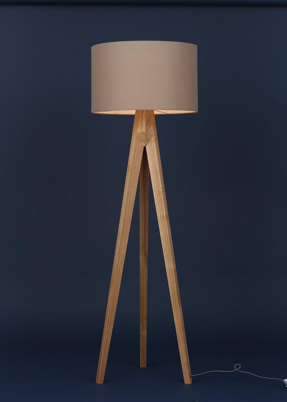 Tarvos Tripod Floor Lamp H127cm X W45cm Brown Wooden