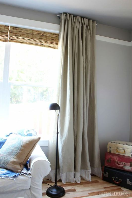 DIY Embellished Extra Long IKEA Curtains (embellished With Part Of A World  Market Curtain Panel)