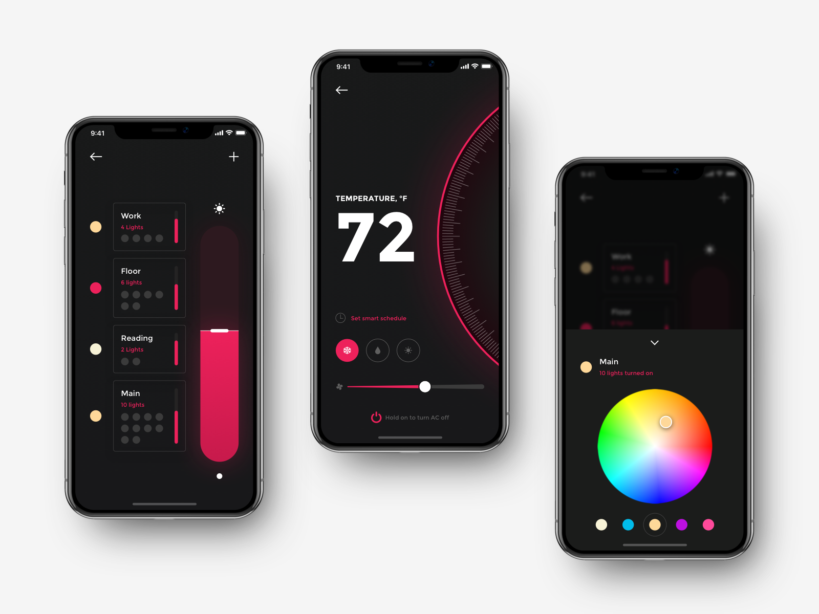 Smart Home App Controls Lighting And Thermostat Light