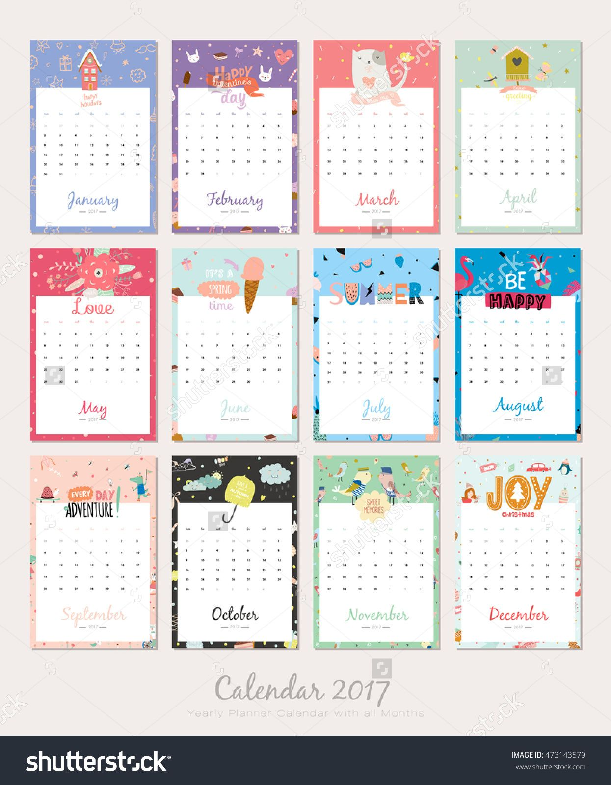 Cute Calendar Template For 2017 Yearly Planner Calendar With All