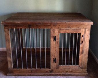 furniture pet crates. Custom Double Dog Kennel Crate Furniture - Hinged Coffee Or Entry Table TV Stand Pet Solid Wood Construction Crates I