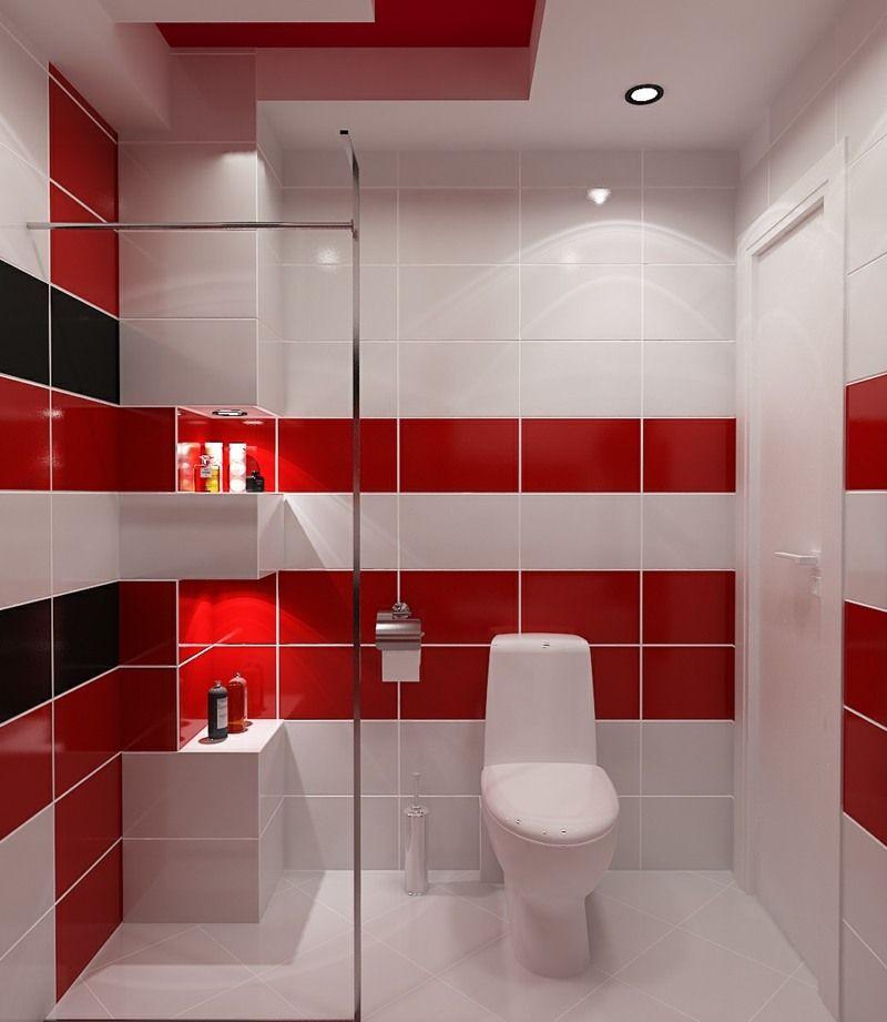 Petite salle de bains avec wc 55 id es de meubles et d co petites salles d - Salle de bain rouge et blanche ...