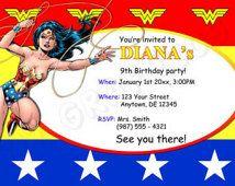 Wonder Woman Birthday Invitation Printable Superhero Birthday
