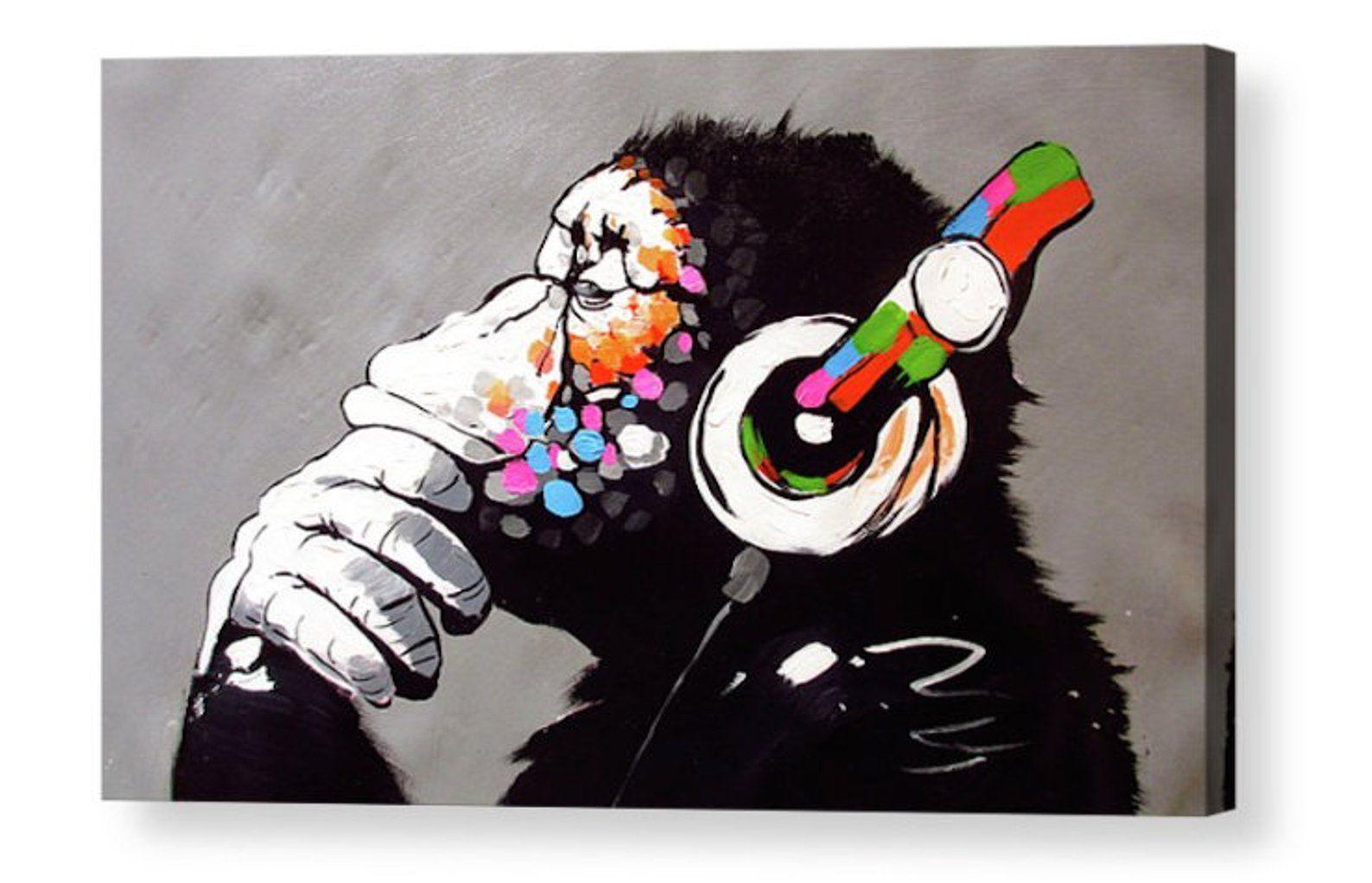 Banksy Dj Monkey Gorilla Ape Canvas Box Art Photo Fine Art