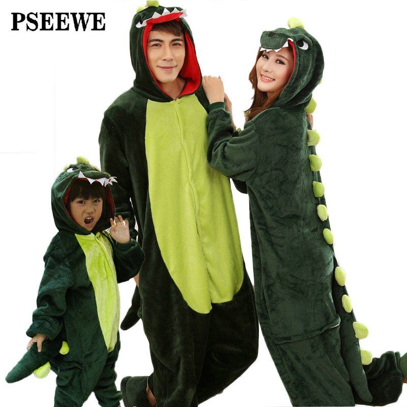 Animal pajamas one piece Family matching outfits Adult onesie Mother and  daughter clothes Totoro Dinosaur Unicorn Pyjamas women adcc36806