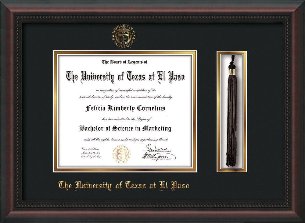 University of Texas - El Paso Diploma Frame - Mahogany Braid - w ...