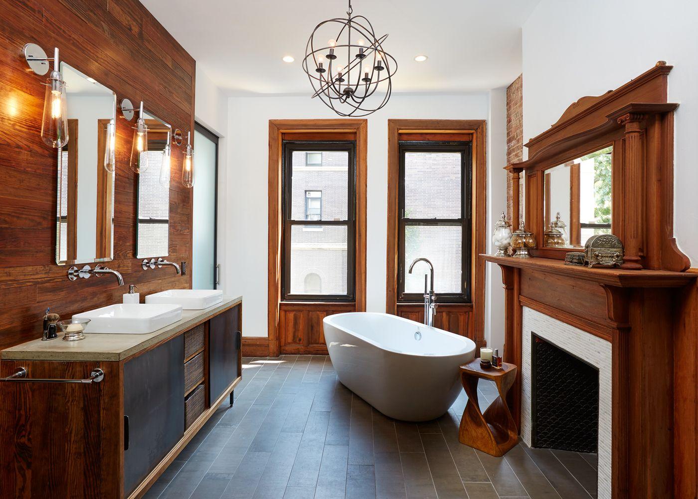 Beautiful Brooklyn Townhouse Master Bathroom Renovation. Custom Reclaimed  Wood Vanity, Orb Chandelier, Vessel