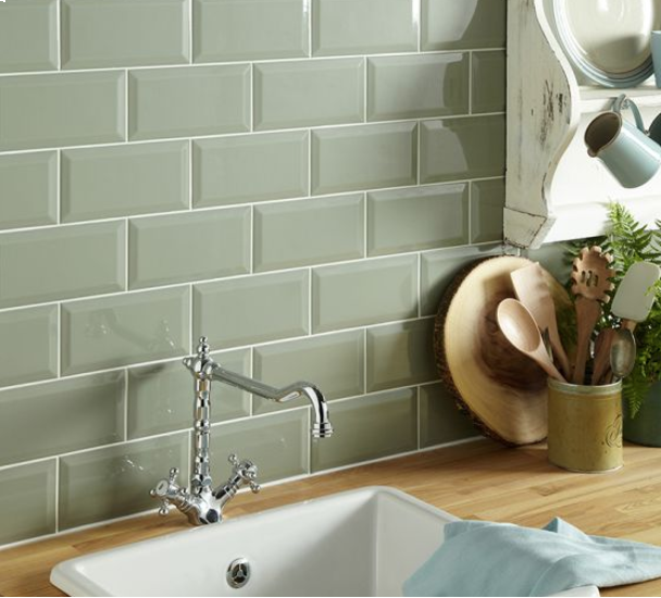 Metro Sage Wall Tile 100x200mm Kitchen Wall Tiles Sage Green Kitchen Walls Green Kitchen Walls