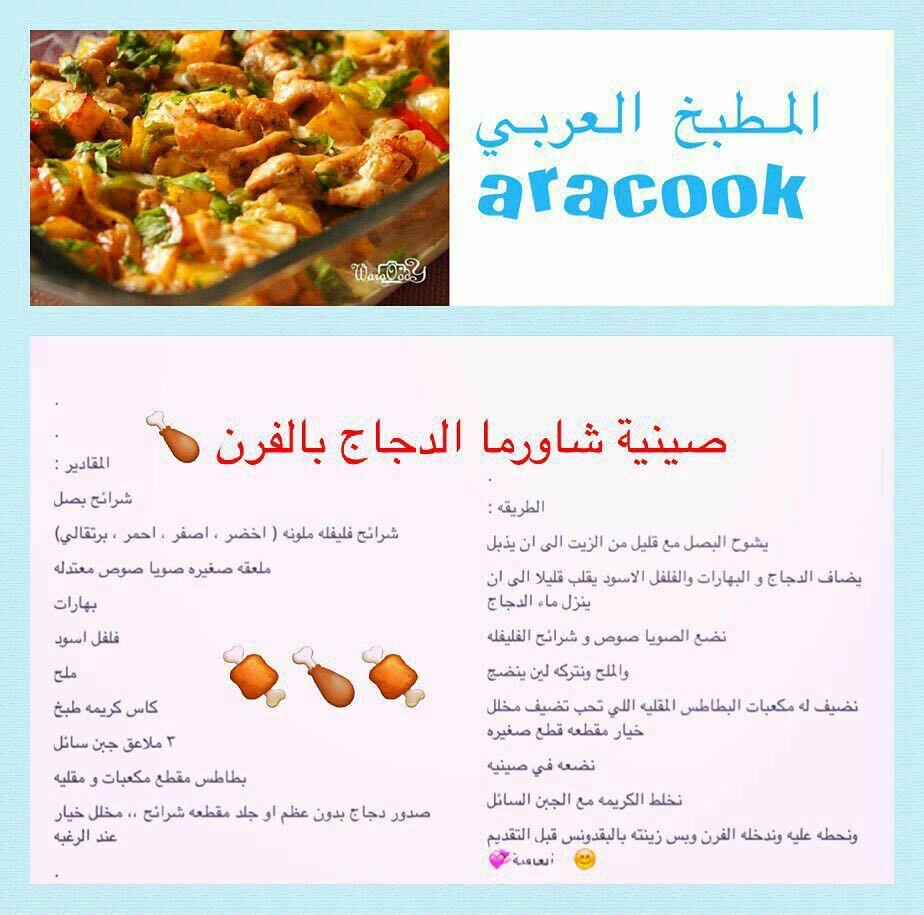 شورما دجاج Middle East Food Recipes Arabic Food