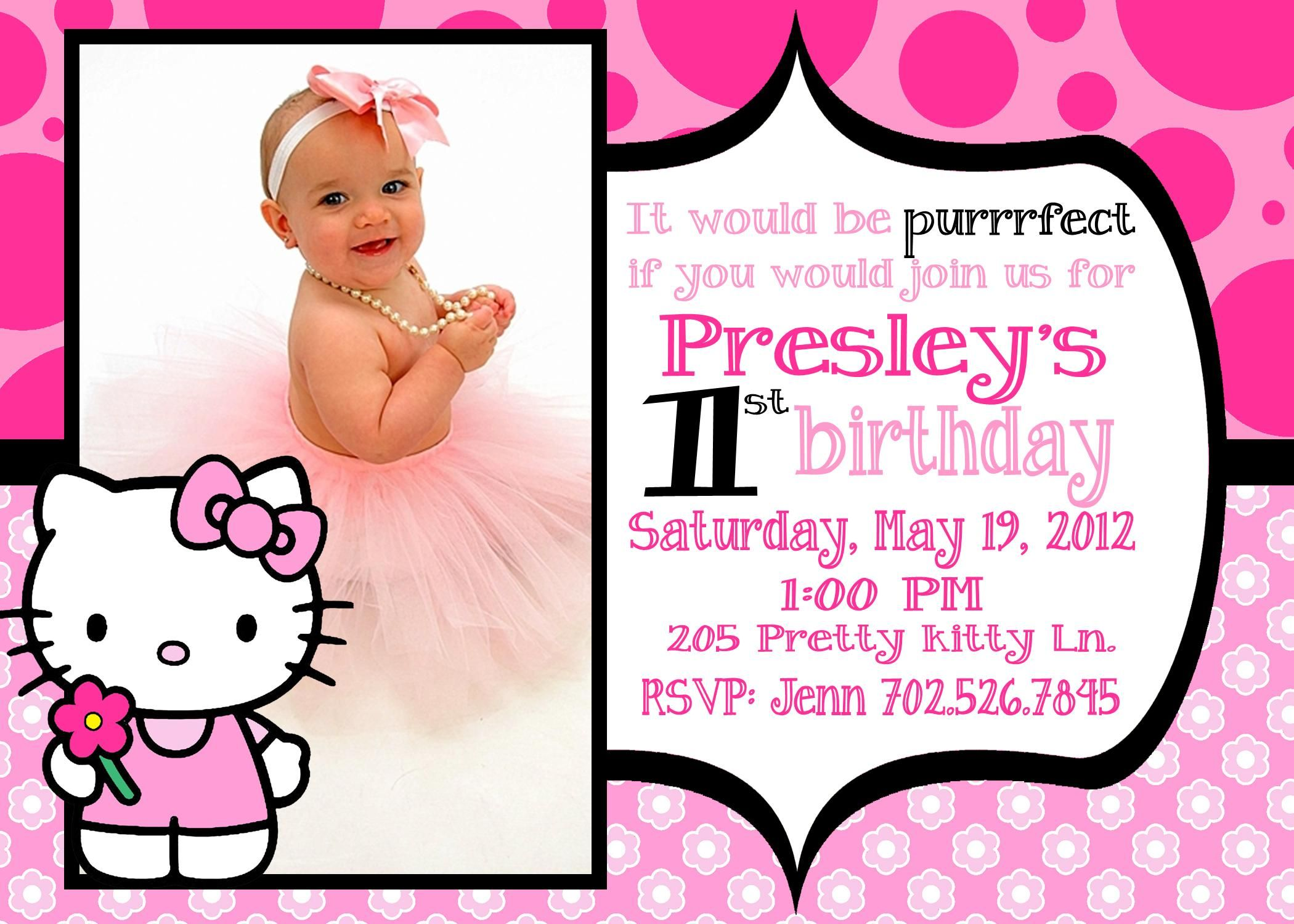 pin by wilma on xylee adden pinterest baby shower invitations . hello kitty 1st birthday invitations. printable birthday invitation cards ...