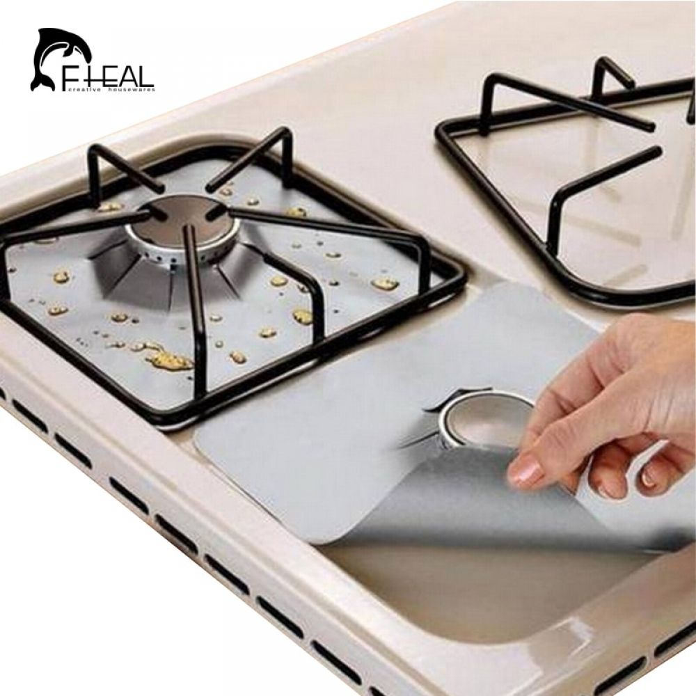 Reusable Non Stick Gas Foil Protector Cover 4pcs Stove Burner Covers Stove Top Cover Stove Cover