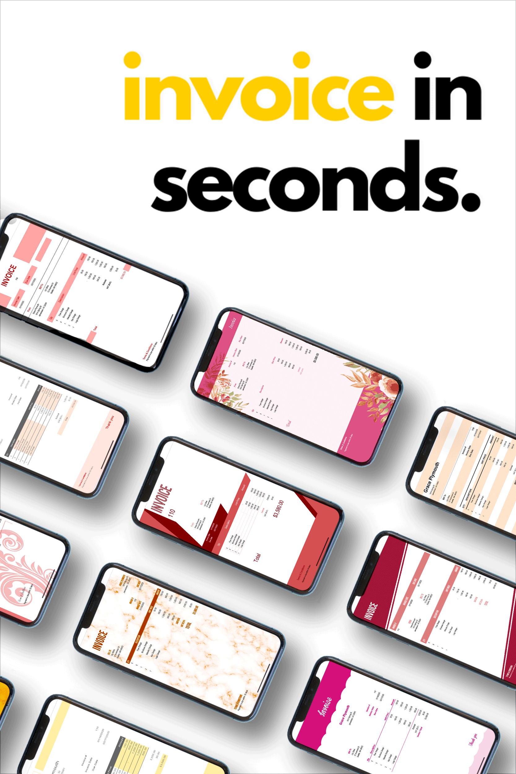 Invoice In Seconds Invoice Design Invoice Template Budgeting Money