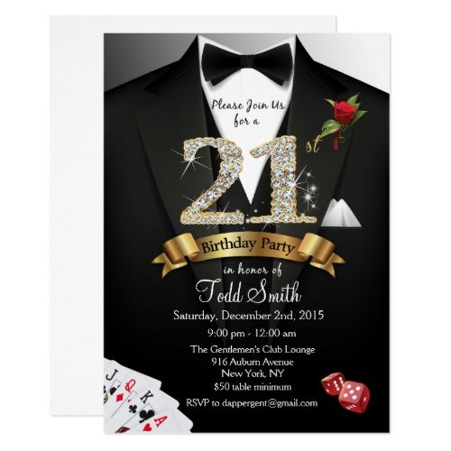 21st Birthday Invitations Tuxedo Black Tie Casino 21st Birthday Invitation 21st Birthday Invitations Birthday Invitations 50th Birthday Invitations