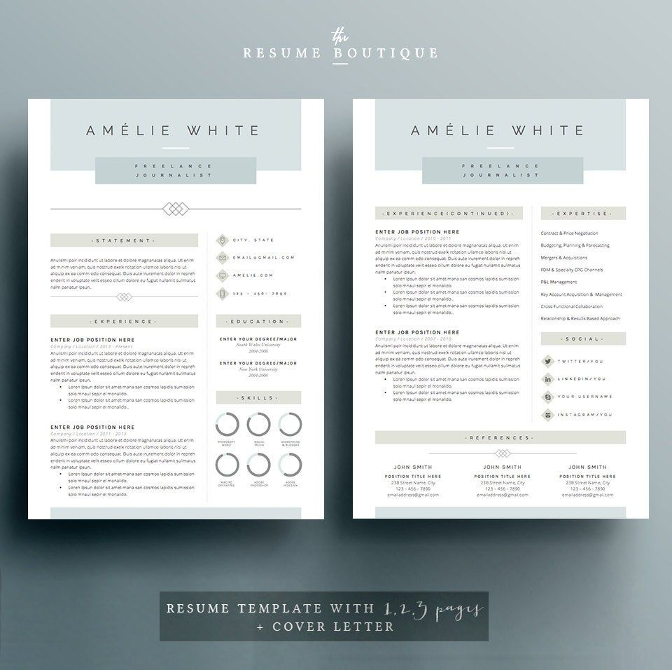 Resume Template 4 Pages Cv Template Cover Letter For Ms Word Instant Digital Download The Opal Resume Template Cv Template Lettering