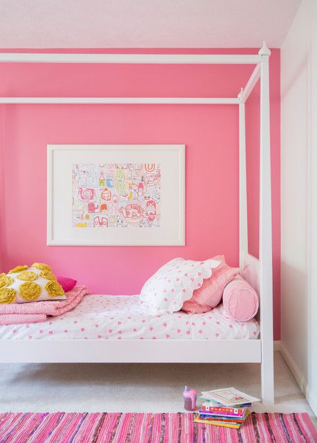 Girls Bedroom Pink Feature Wall Bedding And Rug Our