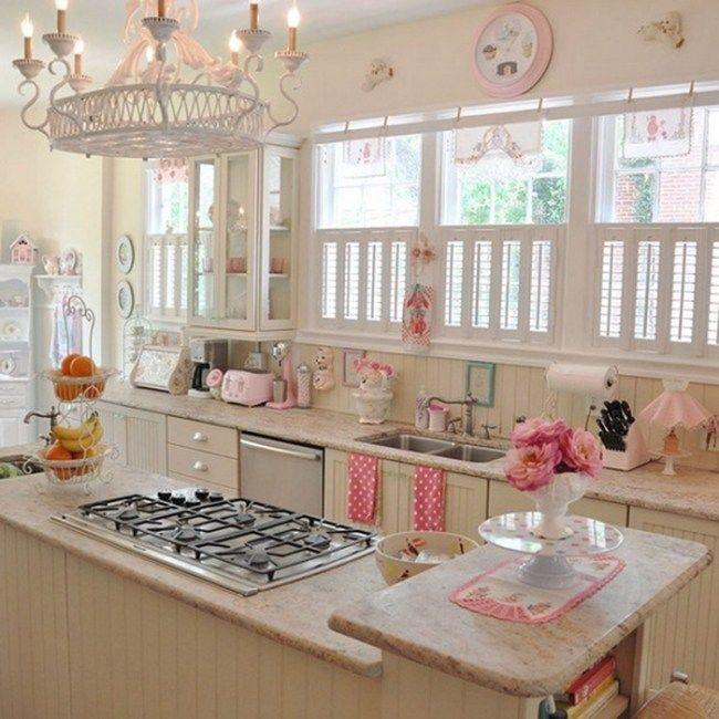 Küche Rosa shabby chic küche kronleuchter hell rosa utensilien wohnen