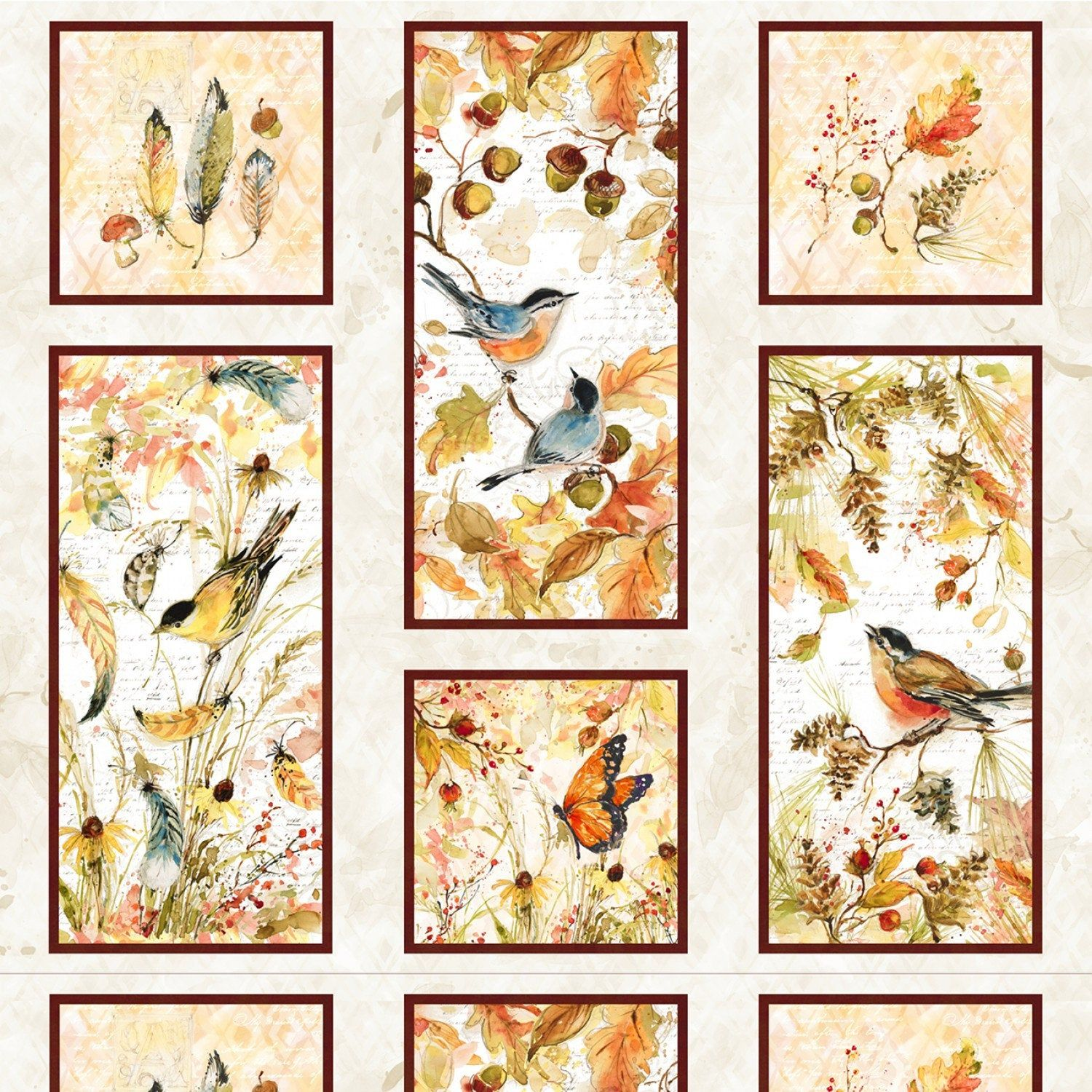 Fall Colors Leaves /& Wreath Panel by Wilmington Prints-Leaves-Wreath-Fall