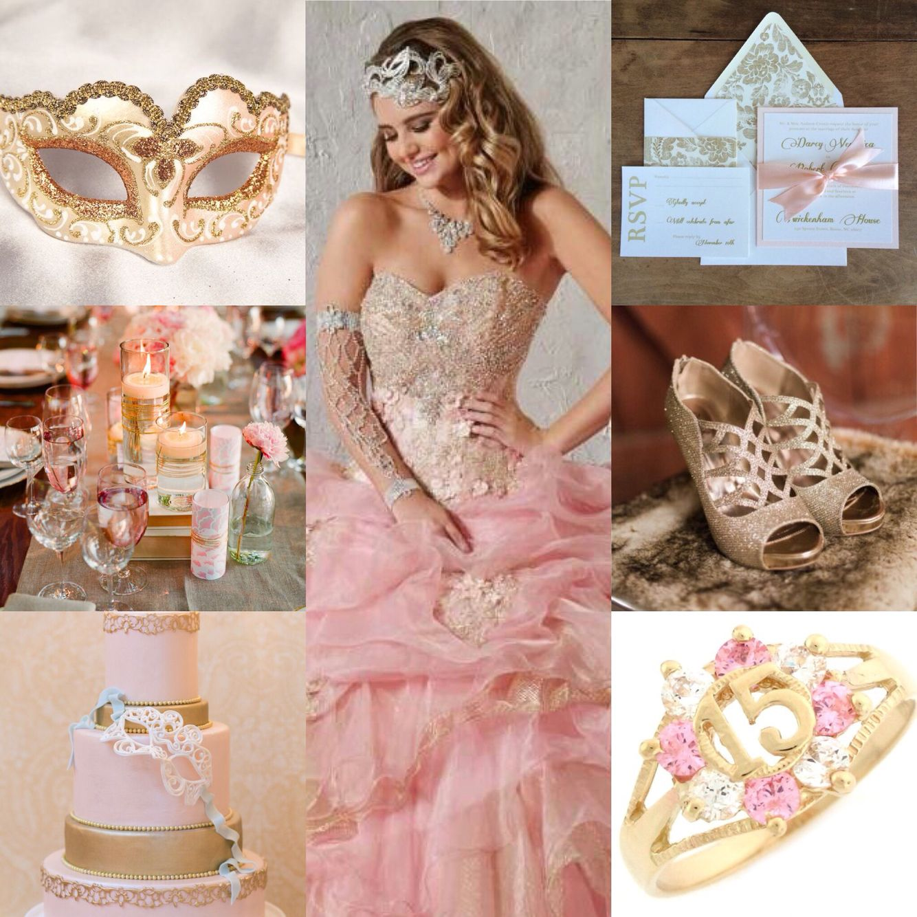 Pink and gold mascarade quinceanera theme | Pink Mascarade ...
