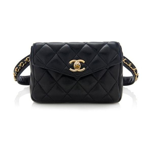 00149567f Chanel Vintage Lambskin Waist Belt Bag Size 30 75 ❤ liked on Polyvore  featuring bags and luggage