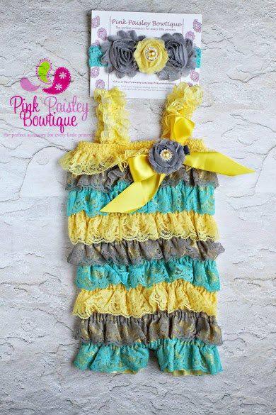 572da5df1098 Petti Romper - 3 pc SET- Yellow   Aqua Petti Romper- Ruffle Romper -Baby  Girl Rompers -Ruffle Rompers - 1st Birthday Outfit - Baby Romper