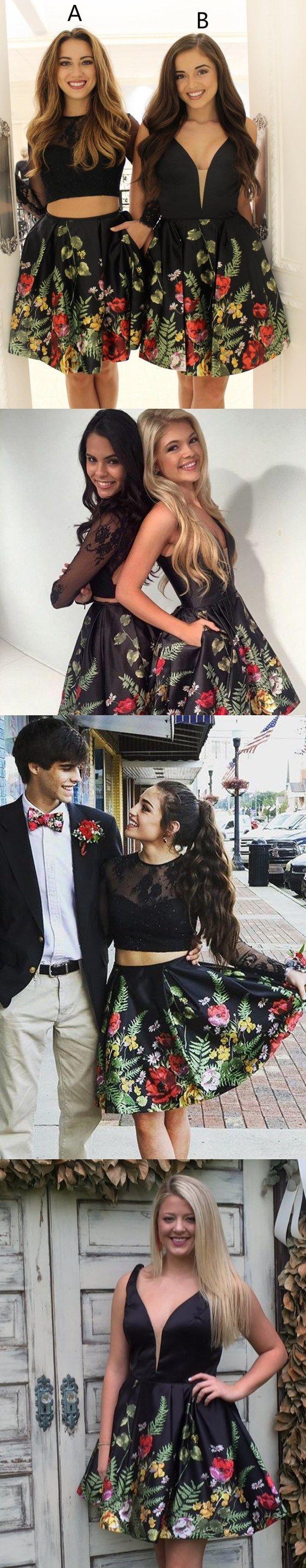 Two piece homecoming dresses little black dress short prom dress