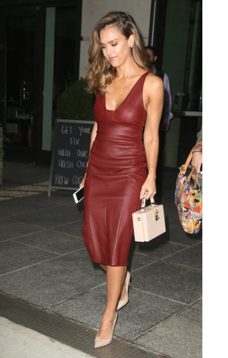 ad90f9d6f6 Jessica Alba wearing a Narciso Rodriguez mid-length nappa dress in  pomegranate on her way to appear on Jimmy Fallon in NYC on Tuesday August  25th, 2016.