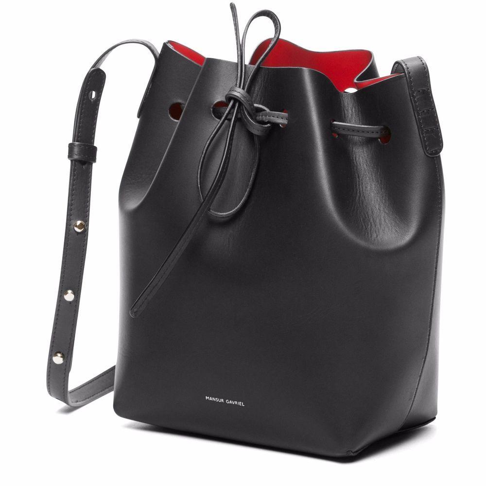 0f556bce5 NWT MANSUR GAVRIEL MINI SAFFIANO LEATHER BUCKET BAG BLACK FLAMMA RED BRAND  NEW