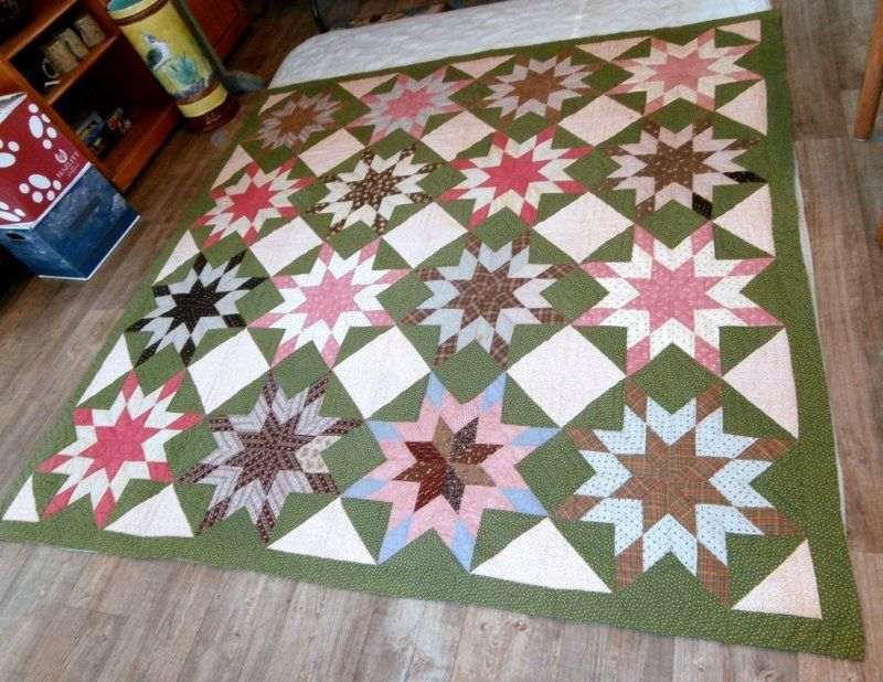 #Antiques #Gifts Beautiful Antique 19C PENNSYLVANIA STAR Quilt EXC Condition Estate Find NR #Collectors