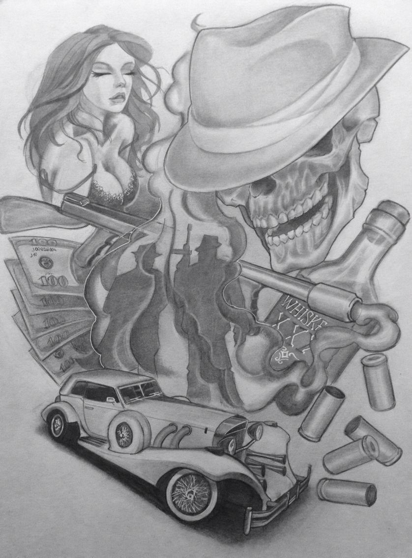 Chicago Beauty skull mafia Money gun car | My drawings ...