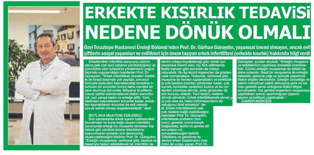 Erkekte Kısırlık Tedavisi Nedene Dönük Olmalı - Basında Biz - Özel Tınaztepe Hastanesi