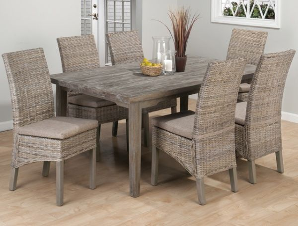 Weathered Driftwood Grey Dining Table Banana Leaf Parsons Chairs