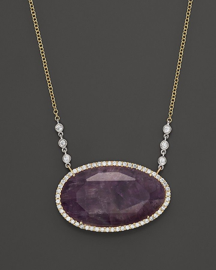 Meira T Diamond and Rough Amethyst Pendant Necklace in 14K Yellow Gold, 16""