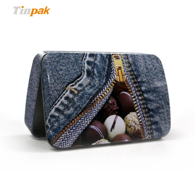 """This chocolate tin box is with size 144*92*35mmH (5.67*3.62*1.38""""), it is small and elegant for chocolate packaging. More at http://www.tinpak.us/Products/smallhingedchocolate.html"""