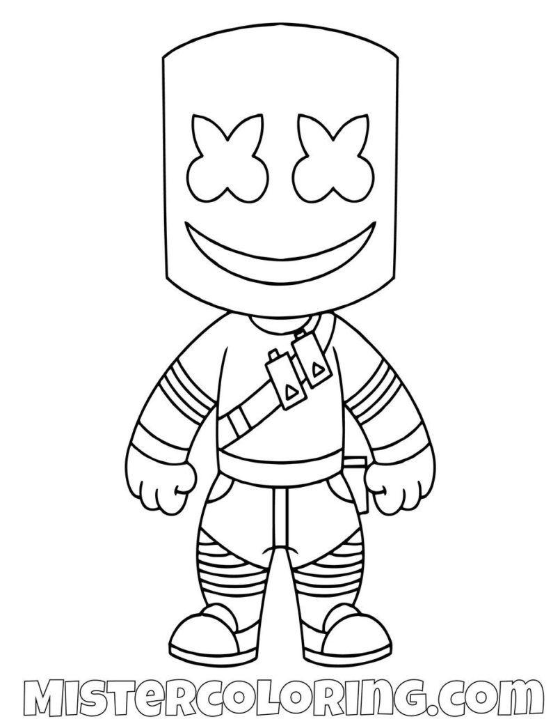 Coloring Pages Free Marshmello Chibi Skin Fortnite In 2021 Coloring Pages For Boys Cool Coloring Pages Free Kids Coloring Pages