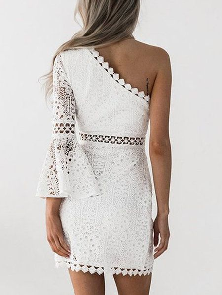 White One Shoulder Bell Sleeve Lace Dress From Mobile Us 31 95 Yoins Lace Dress With Sleeves White Short Dress Dresses