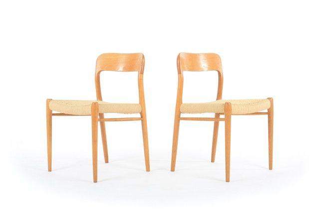 Four Moller Model 75 Dining Chairs - Mr. Bigglesworthy Designer Vintage Furniture Gallery