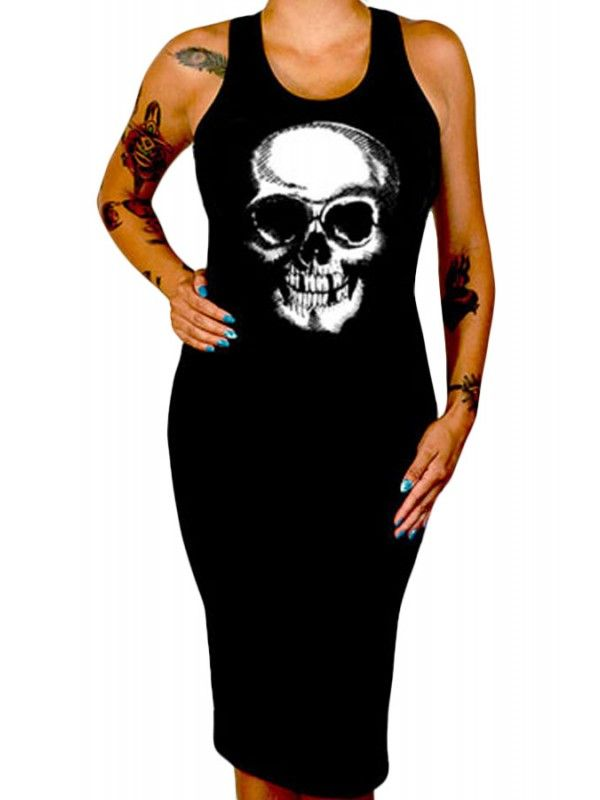 11c4452773 Goth Style - Cartel Women s Death Skull Fitted Tank Dress Exercices
