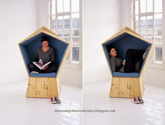 Awesome Innovative Reading Cum Relaxing Booth Type Wooden Chair Enclosed With  Fabric Cushion | Wooden Fabric Chair