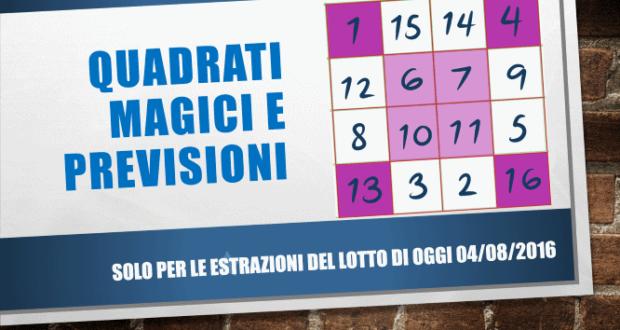 Quadrati magici e previsioni per l estrazione del lotto di for Estrazione del lotto di oggi