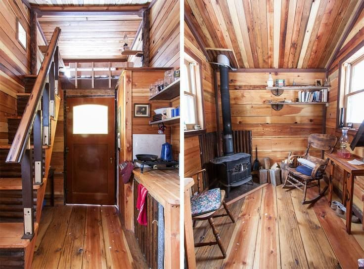 rustic tiny house interior. i like the woodstove placement. pin it