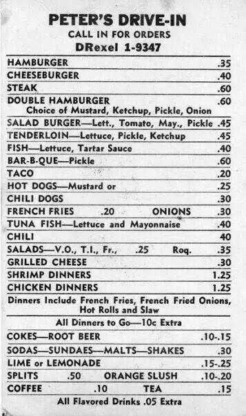 Look At These Prices 60 70 S Vintage Menu Wyandotte County Menu Restaurant