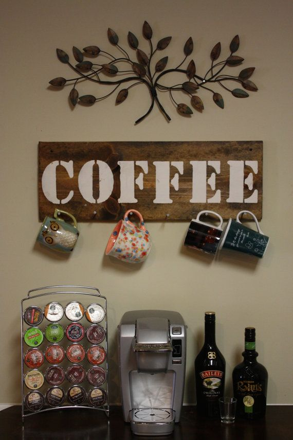 Rustic Coffee Cup Holder By TheRusticBox On Etsy. I Want A Coffee Bar Space  Like This When We Get A House.